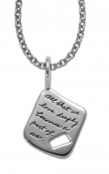 Sterling Silver BB Becker Inspirational Necklace a symetrical square with a rectangle cutout on lower right side inscribed quote: All that we love deeply becomes a part of us. ~Helen Keller