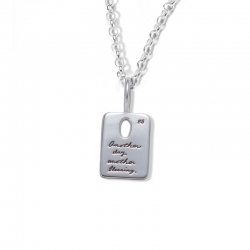 Sterling Silver Inspirational rectangle Necklace with a oval cutout near the top center with inscribed quote - Another day, another blessing. -BB