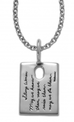 Sterling Silver Inspirational Pendant Rectangle shape with a small oval cutout near the top quote reads: Strong Women. May we know them, may we raise them, may we be them.