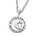 Inspirational Sterling Silver Circle BB Becker Necklace with Star and Moon cutouts quote reads: You must be the change you wish to see in the world. - Mahatma Gandhi