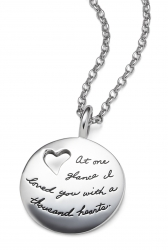 Sterling Silver Inspirational BB Becker Necklace a circle shape with a heart cutout near the top left The engraved quote says: At one glance I loved you with a thousand hearts.