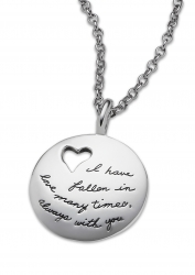 Heart Necklace - I Have Fallen In Love Quote on Sterling Silver