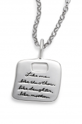 Mother Daughter Necklace Sterling Silver with Engraved Quote Like Daughter Like Mother