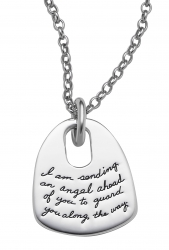 Sterling Silver Inspirational cape shaped pendant with oval cutout near the top center quote reads: I am sending an angel ahead of you to guard you along the way. - Exodus