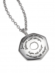 Inspirational Sterling Silver heptagon shaped Necklace with circular cut out in the center engraved quote: Love bears all things, believes all things, hopes all things, endures all things. -Corinthians