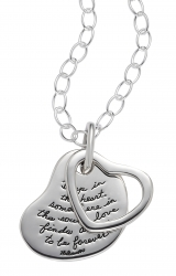 Two Heart Necklace Heart and Soul Quote On Sterling Silver