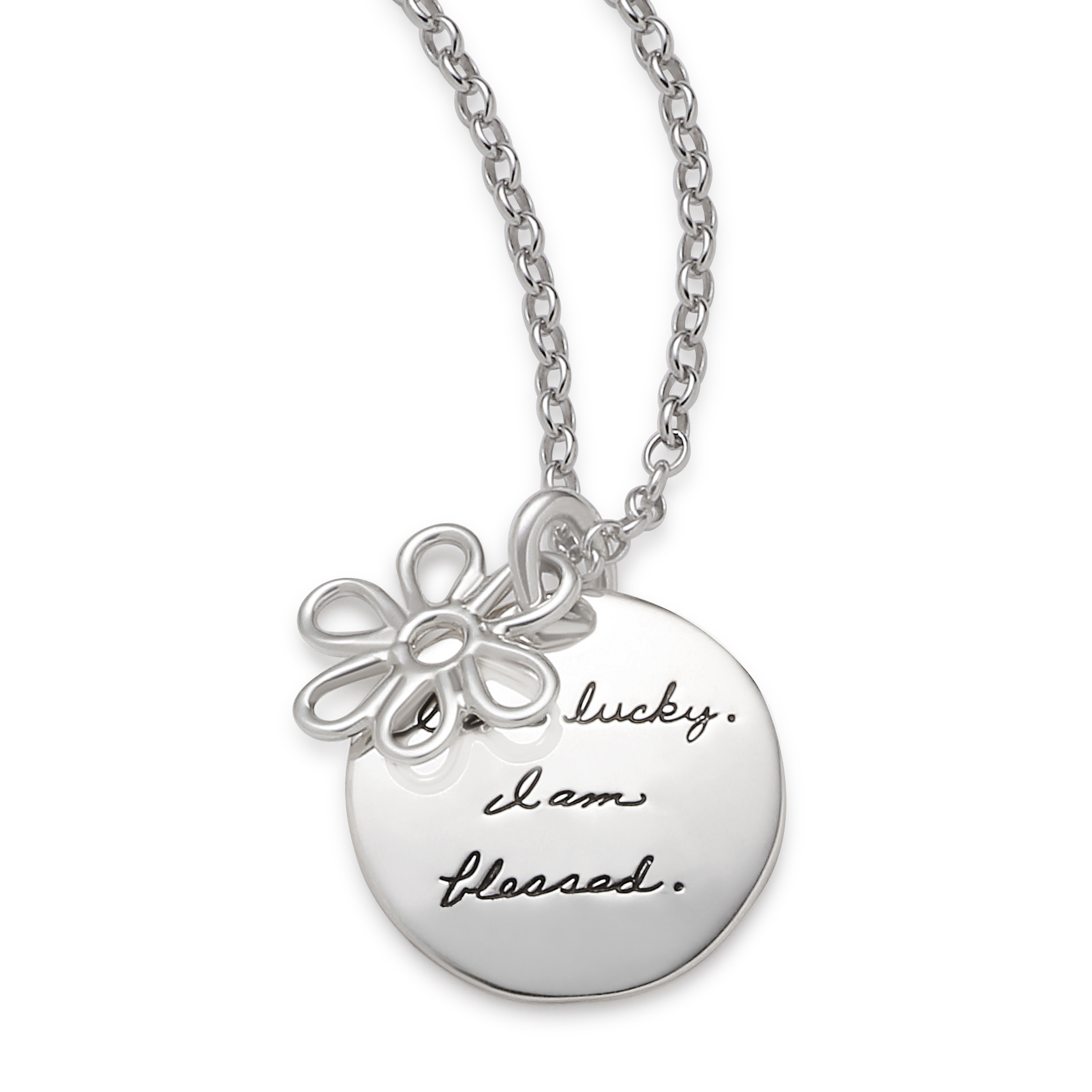 Sterling Silver Inspirational circle pendant with a wire flower hanging in front Engraved with the words: I am lucky. I am blessed.