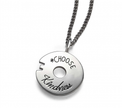 Sterling silver circle token with circle center cutout Engraved quote # Choose Kindness
