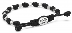 Men's Bracelet w/ Sterling Nugget Beads and Knotted Cord