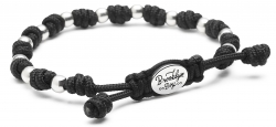 Men's Bracelet w/ Sterling Round Beads and Knotted Cord.