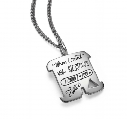 Inspirational sterling silver square necklace with irregular shaped cutouts quote says When I count my blessings, I count you twice.