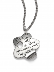 One Day At A Time Progress Not Perfection - Flower Quote Necklace