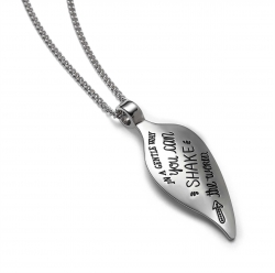 Inspirational sterling silver quote necklace in an irregualr leaf shaped necklace, engraved with the words: In a gentle way you can shake the world. -Gandhi