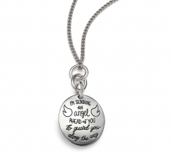 Sterling Silver Inspirational oval shaped necklace with three linked rings. Engraved with the quatation: I am sending an angel ahead of you to guard you along the way. -Exodus