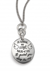 Angel Wing Necklace Sterling Silver Engraved with Sending an Angel Quote