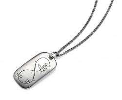 Rectagular Sterling Dog Tag with rounded edges. Engraved with a decorative infinity symbol that includes the word love.