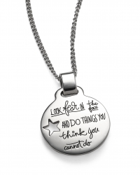 Sterling Circular Pendant with Star cutout on the right side has inspirational engraved words:  Look fear in the face… and do the thing you think you cannot do. Eleanor Roosevelt