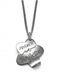 Inspirational sterling silver quote necklace shaped like a flower with one pedal turned up message engraved on the necklace is Progress not perfection.