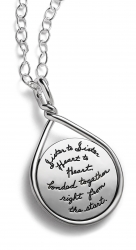 BB Becker sterling silver circle necklace with wire outline and twisted at the top Engraved quote that reads: Sister to Sister Heart to heart bonded together right from the start.