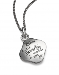 Sterling silver inspirational irregular diamond shaped quote necklace quotation reads: She leaves a little sparkle wherever she goes.
