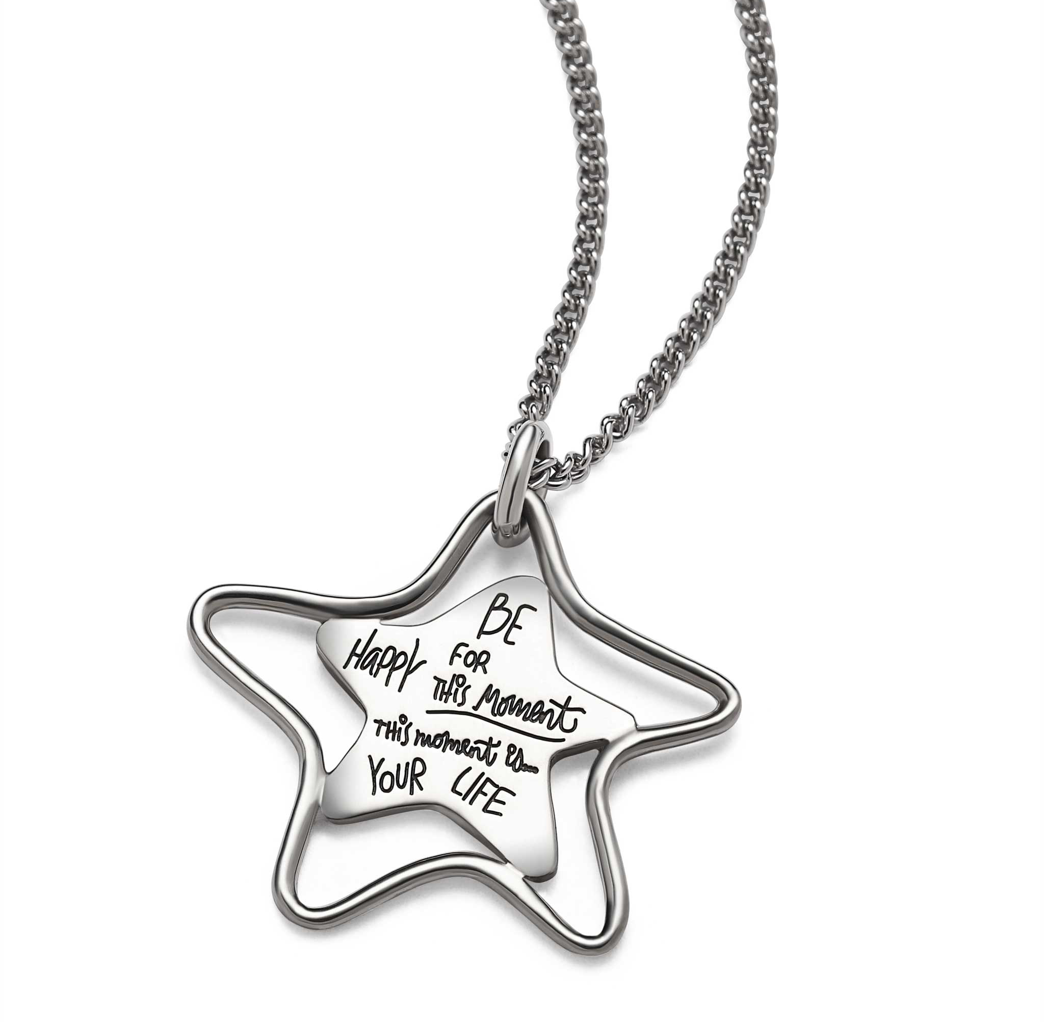 Inspirational star necklace inside a wire star with a quote that reads: Be happy for this moment. This moment...is your life.