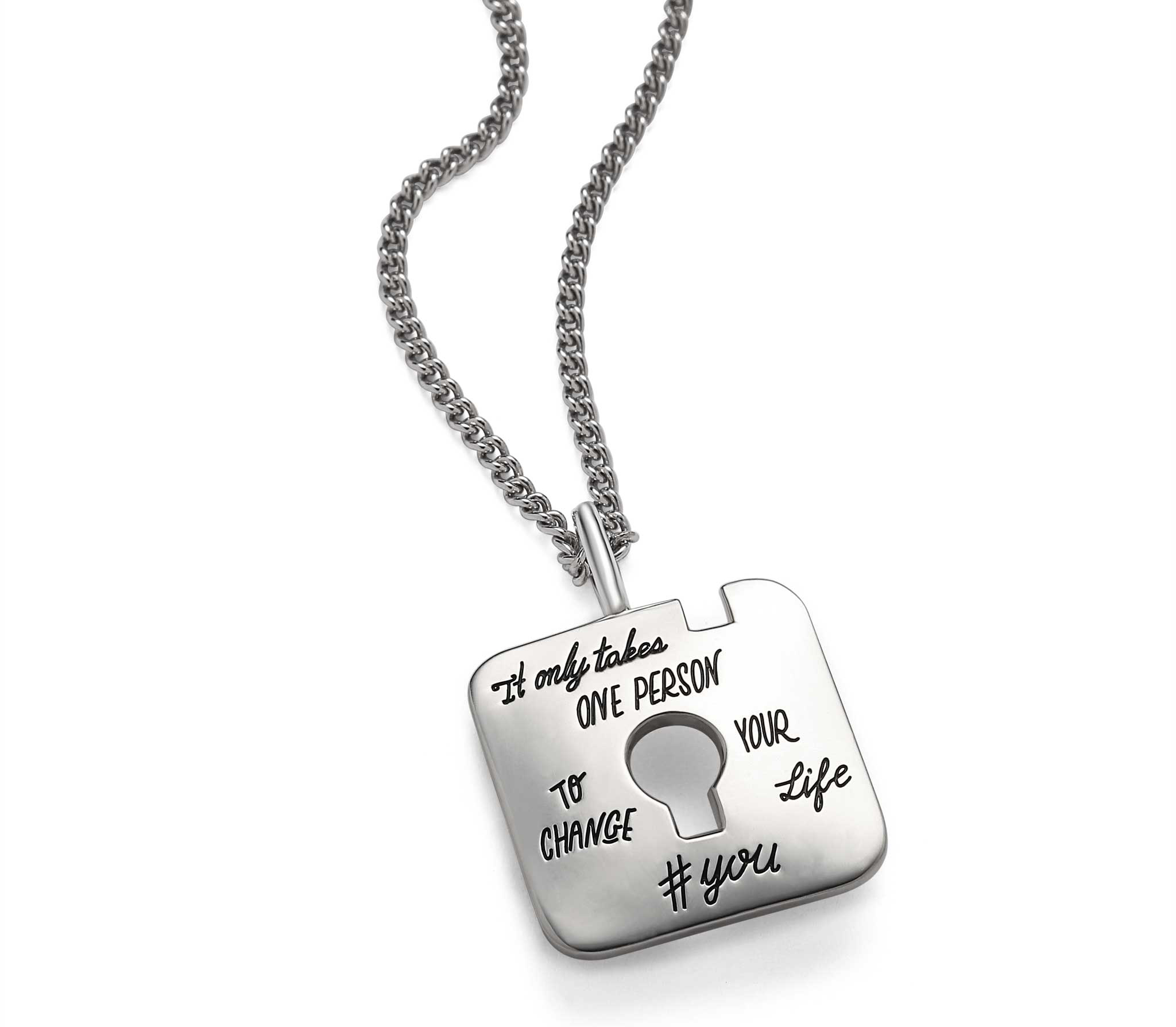 Sterling square token pendant with keyhole cutout in the center. Hand lettered quote reads: It only takes one person to change your life. #YOU
